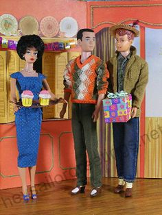 Allan brings Barbie a birthday present in the 1963 Dream House by Hey Sailor Greetings