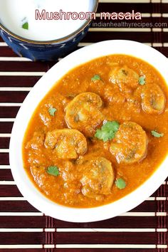 mushroom masala gravy is a delicious curry made of mushrooms in a spicy onion tomato base. Mushroom gravy goes well with rice, roti or paratha. Mushroom Recipes Indian, Mushroom Masala Recipe, Mushroom Curry, Easy Indian Recipes, Easy Recipes, Tasty Vegetarian Recipes, Curry Recipes, Vegetable Recipes, Vegetarian Curry