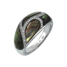 Kabana - Black Mother of Pearl & Diamond Ring