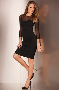 Boston Proper Ponte illusion mesh dress #bostonproper
