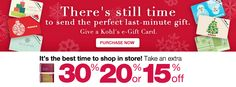 Upto 30% OFF. There is still time to send the perfect last-minute gift.   http://yespricer.com/kohls/