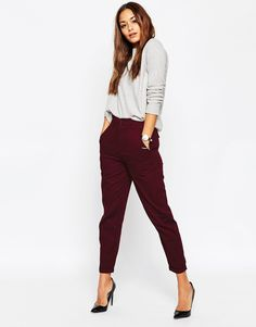 Image 1 of ASOS High Waisted Peg Trousers