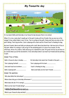 My Favourite Day Teach Reading Comprehension Worksheets English