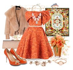 """""""Orange You Pretty?"""" by polyamorless ❤ liked on Polyvore featuring Meyda, Chesca, Balmain, Bambah, Kendra Scott, Giuseppe Zanotti, Dsquared2, Kenneth Cole and Baccarat"""
