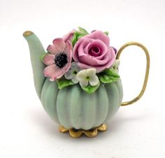 1/12TH scale   romantic chic floral teapot by Lory by 64tnt
