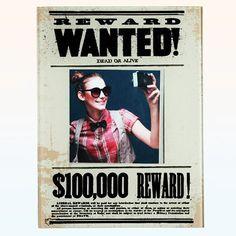 """Glasrahmen """"Wanted"""" - Geschenke von Geschenkidee"""