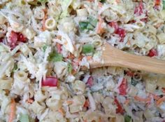 We came up with this recipe after eating pasta slaw at Nordy's BBQ. Neither my husband nor the kids would really eat Cole Slaw until we tried this recipe. Now, it's a family favorite that Slaw Recipes, Veggie Recipes, Detox Recipes, Free Recipes, Slow Cooking, Cooking Recipes, Potato Pasta, Macaroni Pasta, Homemade Coleslaw