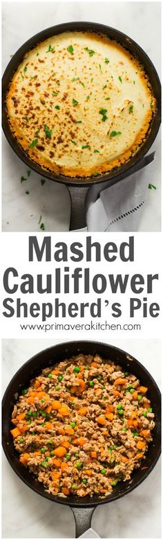 mashed-cauliflower-shepherds-pie- Mashed Cauliflower Shepherd's Pie - Give a healthy spin in your traditional shepherd's pie recipe by making it with mashed cauliflower. It's very filling, low-carb, gluten-free, paleo-friendly and the most important very DELICIOUS!