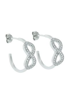 silver pave infinity hoops ♥