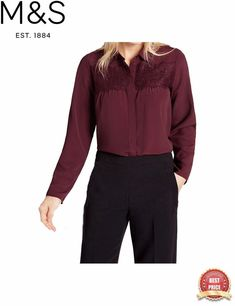 9907611d5e69 Details about Marks & Spencer M&S Ladies RED BURGUNDY / WHITE LACE blouse  Shirt Top Tunic 8-18