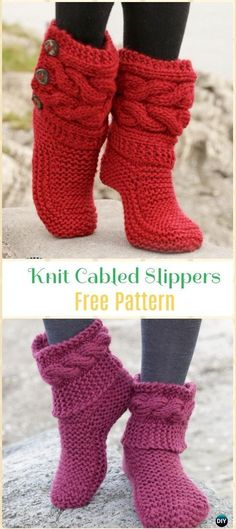 Knit Garter Stitch Cabled Slippers Free Pattern - Knit Adult Slippers Free Patterns