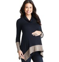 LOFT makes Maternity! Maternity Colorblocked Long Sleeve Top by Maternal America - Colorblocked accents at the cuff and hem give this ultra soft cowl neck style an irresistibly modern (yet totally low key) look. Cowl neck. Long sleeves. Handkerchief hem with side vents.