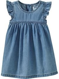 Flutter-Sleeve Chambray Dresses for Baby