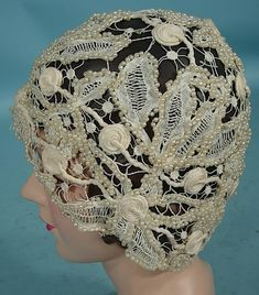 c. early 1920's Original Openwork Lace and Faux Pearl Cloche