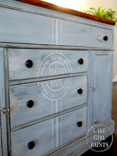 Lake Girl Paints: Painted Sideboard Wears Family Stamp