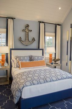 blue bedroom navy style bedroom design master bedroom idea nighslee memory foam mattress shopping online mattress in a box mattress topper bedroom ideas Bedroom Orange, Gray Bedroom, Teen Bedroom, Bedroom Wall, Beach House Decor, Home Decor, Master Bedroom Design, Bedroom Designs, My New Room