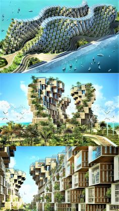 Coral Reef by Vincent Callebaut Architecture Inspired by the organic form of coral, Vincent Callebaut has designed a proposal for the crisis stricken nation of Haiti in the form a plug-in matrix for 1 Architecture Durable, Architecture Résidentielle, Futuristic Architecture, Sustainable Architecture, Amazing Architecture, Chinese Architecture, Vincent Callebaut, Future Buildings, Office Buildings