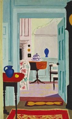 JEAN HUGO   lovely blue painted library