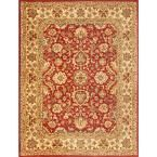 English Manor Red/Beige 8 ft. x 10 ft. Area Rug