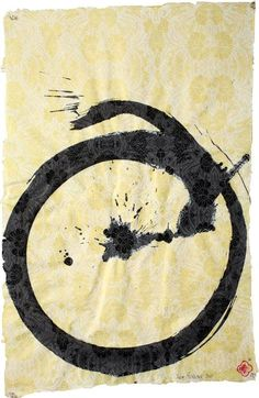 Max Gimblett Floral Enso, 2011 Sumi Ink /on Tibetan Floral Screen-printed Paper 30 x 20 inches
