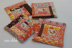 fabric coasters - I'd love to have a matching bigger/thicker one to put the tea pot on Fabric Coasters, Orange Fabric, Sewing Crafts, Presents, Gift Wrapping, Homemade, Potholders, Crafty, Quilts