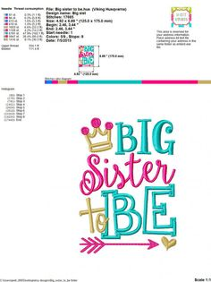 Embroidery design Big Sister to be 5X7 by SoCuteAppliques on Etsy