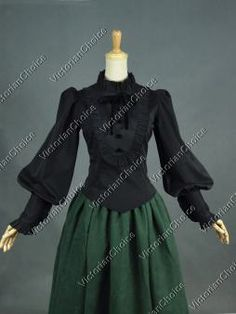 Victorian Edwardian Romantic Gothic Steampunk Black Penny Dreadful Blouse Shirt Theater Costume