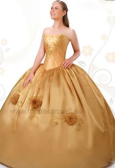 Duchesse Sissi Ballkleid in Gold