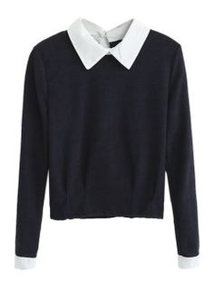 Shop Black Long Sleeve Top with Contrast Collar from choies.com .Free shipping Worldwide.$13.9