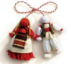 Romania and Bulgaria celebrate the of March with a very interesting tradition. Mărțișor in Romania, and Martenitsa in Bulgaria, are all about welcoming the upcoming spring, and more. Yarn Crafts, Diy And Crafts, Baba Marta, Beginning Of Spring, Yarn Dolls, Fabric Dolls, Thinking Day, Handicraft, Lana