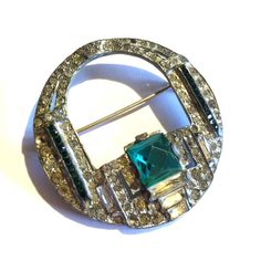 Green Glam Rhinestone and Silver Statement Brooch circa 1930s - Dorothea's Closet Vintage