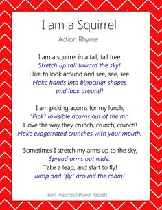 Action Rhyme - Rhymes for Kids Squirrel action rhyme for kids! Perfect for preschool, toddlers, and kindergarten!Squirrel action rhyme for kids! Perfect for preschool, toddlers, and kindergarten! Kindergarten Songs, Preschool Music, Fall Preschool, Preschool Lessons, Preschool Activities, Fingerplays For Preschoolers, Waldorf Kindergarten, Homeschool Kindergarten, Music Activities