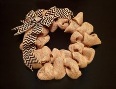 Burlap Fall Wreath  I love the rustic look of this wreath.  Colored rosettes can be added to customize your wreath.  It will look great on your front door!  https://www.etsy.com/listing/163818879/chevron-burlap-wreath-burlap-wreath?ref=listing-shop-header-1