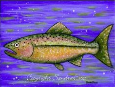 fishing painting | Colorful FOLK ART FISH Rainbow Trout Painting on Wood