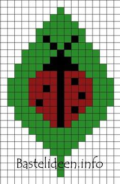 Fuse Beads Lady Bug on a Leaf 400 Cross Stitch Cards, Beaded Cross Stitch, Cross Stitching, Crochet Ripple, Crochet Chart, Hama Beads Patterns, Beading Patterns, Cross Stitch Designs, Cross Stitch Patterns