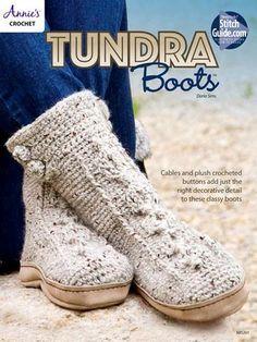 Tundra Boots ~ cozy & comfortable ~ woman's sizes S, M, L; men's sizes S, M, L, XL ~ CROCHET ~ intermediate level