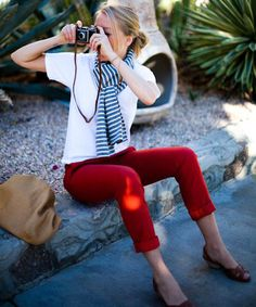 white tee, red pants, scarf