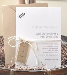 Diggin the styling of the stationery in this photo.. Z Burlap + Twine Invitations.