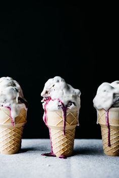 Creme Fraiche Ice Cream with Lilac and Blueberries | Recipe from Tending the Table