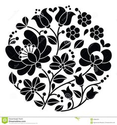 Kalocsai Black Embroidery - Hungarian Round Floral Folk Pattern Stock Illustration - Image: 53864321