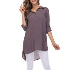 TAB SLEEVE TUNIC TOP DO NOT buy this listing. Please comment size needed below and I will make a separate listing or bundle for you  Available in Medium Grey. 100% rayon.  S (2) M (2) L (2) No PayPal. No trades. Price firm unless bundled. Tops Tunics