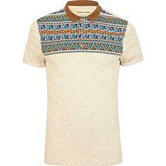 Ecru aztec print yoke polo shirt $40.00