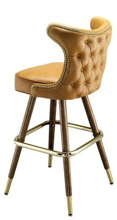 Dallas Bar Stool Wood Bar Stools The Dallas Bar Stool has a look all its own with a buttoned seat back outlined in brass nail heads, and a hand-turned maple wood frame with a walnut finish. This commercial bar stool has a return swivel so the seat