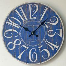 Blue Digital Large Wall Clock Wooden Creative ZAKKA Circular Antique Clocks Coffee Shop Restaurant Bar Home Decoration(China)