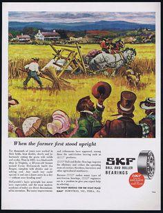 1946 SKF Bearings Farm Reaper 1831 Cutting Grain ART AD | eBay