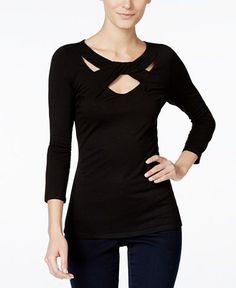 6abc7d2026ae INC International Concepts I.N.C. Three-Quarter-Sleeve Cutout Top, Created for  Macy's & Reviews - Tops - Women - Macy's