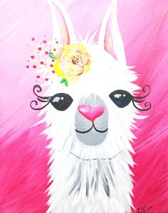 Lovely Llama can be customized for boy or girl. Alpacas, Painting For Kids, Diy Painting, Painting & Drawing, Kids Canvas, Diy Canvas Art, Large Canvas, Images Lama, Wallpaper Kawaii