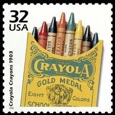 Commemorative stamp - 1903 original Crayola crayon box. ❣Julianne McPeters❣ no pin limits