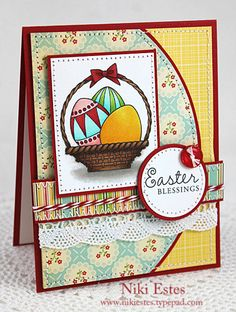 handmade Easter card ... great layout with fun shaped layer s... edges with pierced or machine stitched  ... patterned papers ... collage styling ... basket of eggs ... luv it!