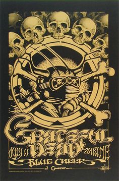 Grateful Dead and Blue Cheer at the Shrine Auditorium, July Poster by Rick Griffin. ~via The Rock Poster Society (TRPS), FB Cheer Posters, Rock Posters, Band Posters, Vintage Concert Posters, Vintage Posters, Psychedelic Art, Wes Wilson, Grateful Dead Poster, Bd Art